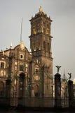 Oude de stadskerk van Puebla stock afbeeldingen