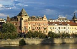 Oude de stadszonsondergang van Praag Royalty-vrije Stock Foto