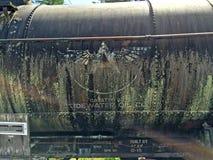 Oude de tankerauto van de VloedwaterOliemaatschappij Royalty-vrije Stock Foto's