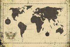 Oude de wereldkaart van Grunge met wapenschild Stock Afbeelding