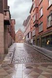 Oude Deense straat in… rhus à - Harald Skovbys Gade Het ontwerp van het stadslandschap - decoratie van het voetdeel Stock Fotografie