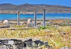 Oude Delos Ruïnes, Griekenland Royalty-vrije Stock Foto's