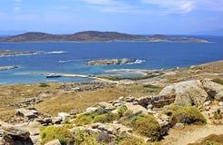 Oude Delos Ruïnes, Griekenland Stock Afbeeldingen
