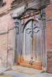 Oude Deur, Royal Palace, Katmandu, Nepal Stock Foto