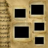 Oude dia's voor foto op muzikale achtergrond Stock Afbeeldingen