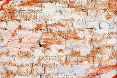 oude die bakstenen muur met rode verf wordt geschilderd royalty-vrije stock fotografie