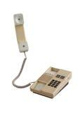 Oude die bureautelefoon op wit wordt geïsoleerd Stock Foto