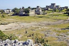 Oude die gebouwen door Mayas worden gebouwd stock foto
