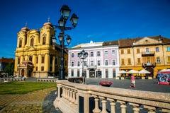 Oude die gebouwen in een stad in Roemenië, Timisoara, de stad worden gevestigd van de jeugd Royalty-vrije Stock Afbeeldingen
