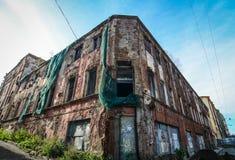 Oude die gebouwen in Vyborg, Rusland worden gevestigd Royalty-vrije Stock Fotografie