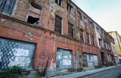 Oude die gebouwen in Vyborg, Rusland worden gevestigd Stock Foto's