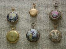 Oude die horloges in Nationaal Museum van Fijne Kunst in Valletta worden voorgesteld Royalty-vrije Stock Afbeelding