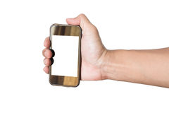 Oude die smartphone van de handgreep, op witte achtergrond wordt geïsoleerd Stock Afbeeldingen