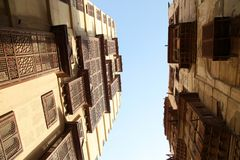 Oude die stad in Jeddah, Saudi-Arabië als ` Historische Jeddah ` wordt bekend Oude en erfenisgebouwen en wegen in Jeddah In de sc Stock Afbeelding