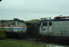 Oude die treinen bij de de Spoorwegpost van Pennsylvania worden geparkeerd royalty-vrije stock foto