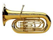 Oude die tuba op witte achtergrond wordt geïsoleerd stock fotografie