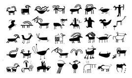 Oude dierlijke tekeningen en sy Royalty-vrije Stock Afbeelding