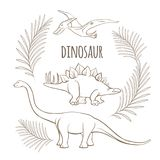 Oude dinosaurussen en van palmtakken zwart-wit overzichtsschets stock illustratie