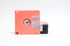 Oude diskette gezet op witte achtergrond Royalty-vrije Stock Afbeelding
