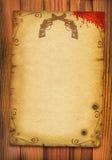 Oude document afficheachtergrond met kanonnen en bloed. Royalty-vrije Stock Fotografie