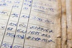 Oude document documenten in het archief stock foto