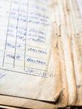 Oude document documenten in het archief stock afbeeldingen