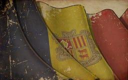 Oude Document Druk - Golvende Vlag van Andorra stock illustratie