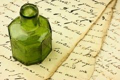 Oude Document en inktpot Stock Foto