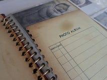 Oude document fotoalabum, tastbaar geheugen Royalty-vrije Stock Foto