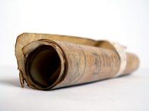 Oude document gerolde rol stock foto's