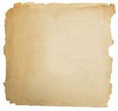 Oude document grunge textuur, lege gele die pagina op wit wordt geïsoleerd Stock Afbeelding