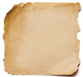 Oude document grunge textuur, lege gele pagina die op witte bedelaars wordt geïsoleerd Royalty-vrije Stock Foto