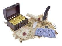 De kaart van de piraat met brieven Royalty-vrije Stock Foto's