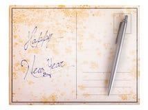 Oude document prentbriefkaar - Gelukkig nieuw jaar Royalty-vrije Stock Afbeeldingen
