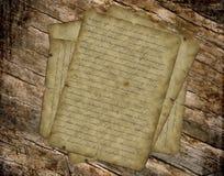 Oude document uitstekende vith tekst op lijst Stock Foto's
