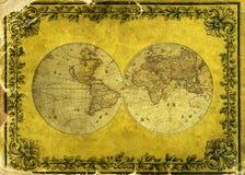 Oude document wereldkaart. royalty-vrije illustratie