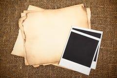Oude documenten en fotokaarten Royalty-vrije Stock Afbeelding