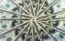 100 oude dollar rekeningen Dichte omhooggaand van de ventilatorstapel stock foto