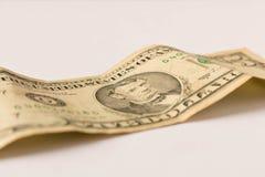 Oude 5 dollarrekening op een witte achtergrond Sluit omhoog Het concept besparingsgeld royalty-vrije stock fotografie