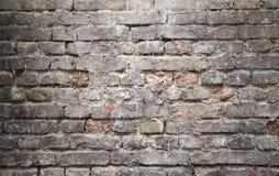 Oude donkere bakstenen muur, close-up achtergrondtextuur Stock Afbeelding