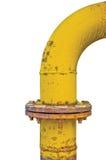 Oude doorstaan oud grunge vergast de flensverbindingen van de pijpverbinding, grote gedetailleerde verticaal geïsoleerde gele pij stock afbeeldingen