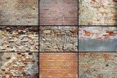 Oude doorstane bakstenen murentexturen Royalty-vrije Stock Afbeeldingen