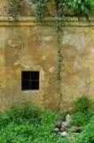 Oude doorstane muur met venster Royalty-vrije Stock Afbeeldingen