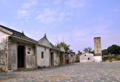 Oude dorp en watchtower in Zuidelijk China Stock Foto