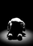 Oude droevige doekpop met vlek lichte B/W Stock Afbeelding