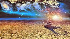 Oude droge boom in dor land stock illustratie