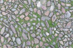 Oude echte textuur als achtergrond met stenen en wat gras Royalty-vrije Stock Afbeelding