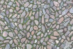 Oude echte textuur als achtergrond met stenen en wat gras Stock Afbeelding