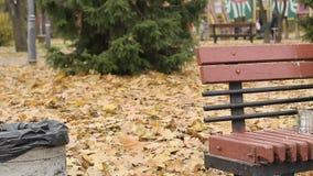 Oude eenzame slechte persoonszitting op bank in park en het vragen om aalmoes, armoede stock videobeelden
