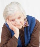 Oude eenzame vrouw Royalty-vrije Stock Foto's